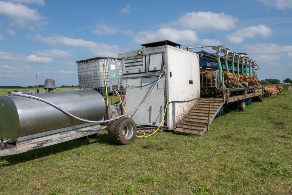 The milking parlor is complete with a holding tank, and is easily moved from field to field